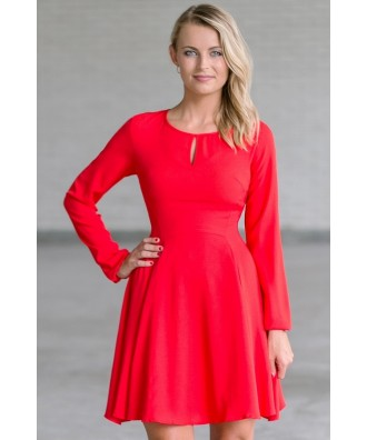 Cute Red Longsleeve Holiday Dress