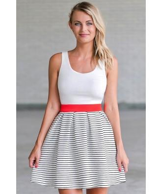 Black and White Stripe A-Line Dress, Cute Summer Dress Online