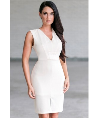 Cute Cream Work Rehearsal Dinner Dress