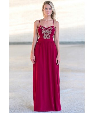 Red and Gold Maxi Formal Prom Bridesmaid Dress
