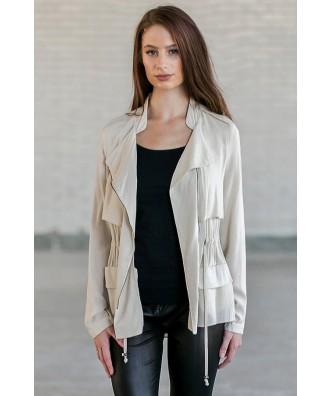 Beige Lightweight Jacket, Cute Fall Beige Jacket