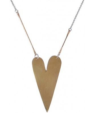 Silver and Gold Heart Necklace, Cute Boho Pendant