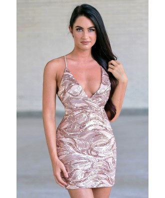 Rose Gold Sequin Cocktail Dress, Cute Sequin New Years Eve Dress