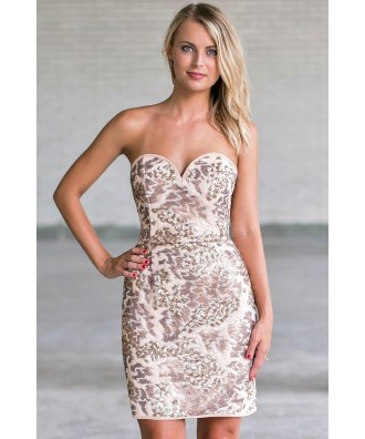 Beige Strapless Sequin Party Dress, Cute New Years Eve Dress