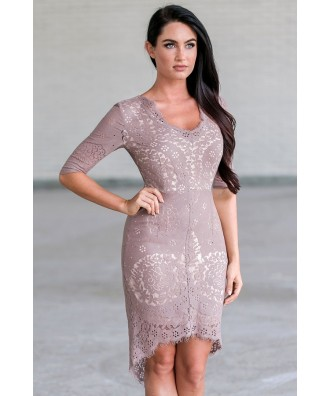 Mocha Lace Sheath Dress, High Low Lace Party Dress