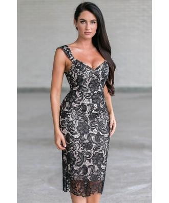 Black Lace Midi Dress, Black Lace Cocktail Dress
