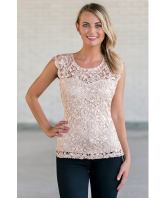 Beige Lace Top, Cute Summer Top
