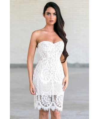 Off White Lace Cocktail Dress, Cute Bachelorette Party Dress