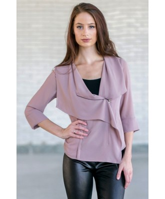 Lavender Purple Crossover Jacket, Cute Juniors Clothing