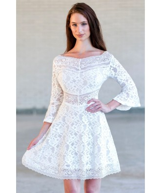 34fd51dfc53 Ivory Bell Sleeve Lace Dress