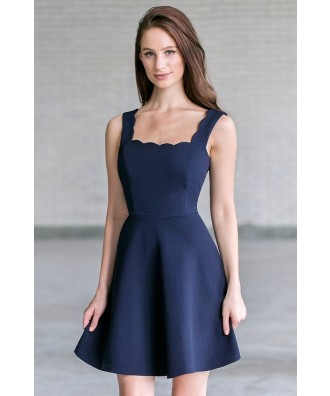Navy Scalloped A-Line Party Dress, Cute Navy Summer Dress