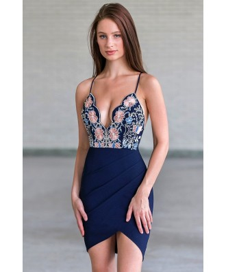 Navy Embroidered Cocktail Mini Dress, Cute Party Dress