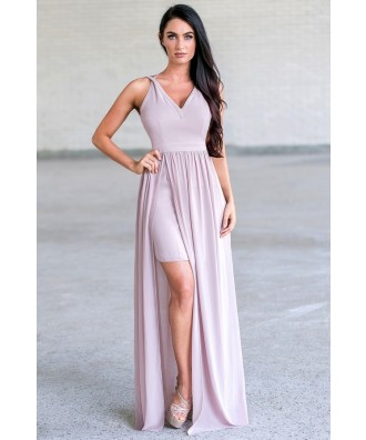 Beige Maxi Prom Formal Bridesmaid Dress