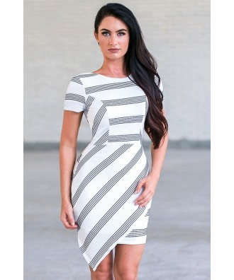 Navy and White Stripe Pencil Dress | Cute Summer Cocktail Dress |
