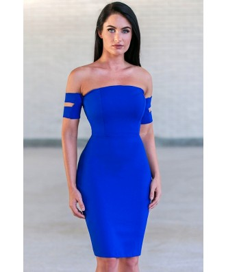 Royal Blue Off Shoulder Cocktail Dress, Cute Party Dress