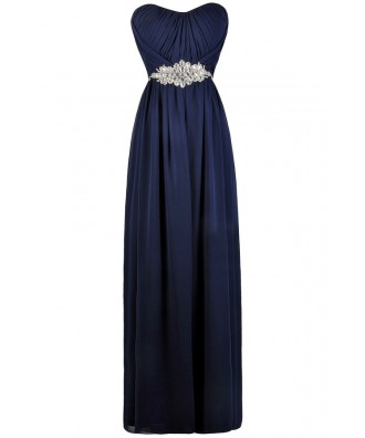 Navy Rhinestone Embellished Formal Maxi Dress