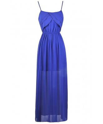 Blue Beaded Maxi Dress, Great Gatsby Ruffle Dress