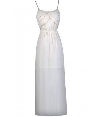 Cream Beaded Maxi Dress, Great Gatsby 1920s Dress, Cute Summer Dress