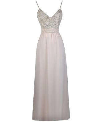Beige Lace Sequin Maxi Dress, Cute Formal Prom Dress