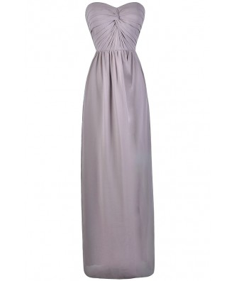Grey Chiffon Maxi Bridesmaid Dress