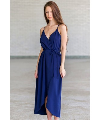 Navy High Low Wrap Dress, Cute Navy Blue Cocktail Party Dress