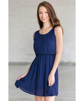 Navy Summer Sundress | Cute Navy Blue Juniors Party Dress