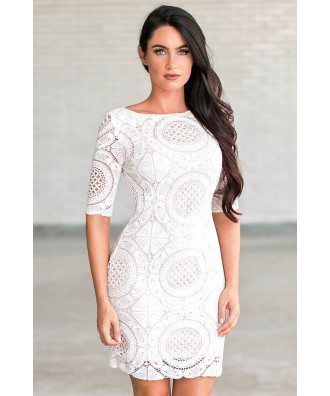 Ivory Lace Rehearsal Dinner Dress for Juniors