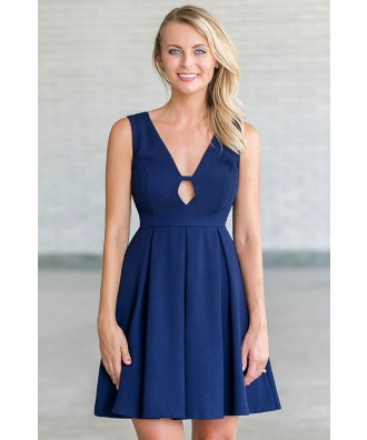 Navy A-Line Party Dress, Cute Navy Summer Sundress