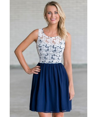 Navy and White Lace A-Line Dress | Cute Navy Summer Dress for Teens |