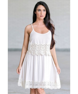 Beige Lace Boho Dress, Cute Juniors Summer Dress