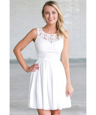 Ivory Lace A-Line Rehearsal Dinner Dress