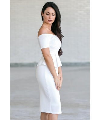 ff2dd3a4091 Off White Peplum Off Shoulder Pencil Dress | Cute Work Sheath Dress ...