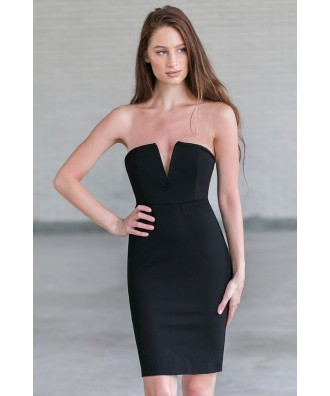 Cute little black strapless cocktail dress