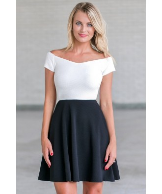 black and white A-line party dress, Cute black and white sundress