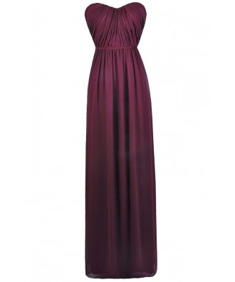 Plum Burgundy Purple Maxi Bridesmaid Dress