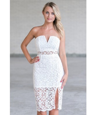 Cute White lace Strapless Midi Dress