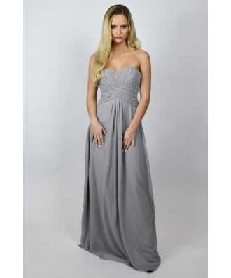 Grey Maxi Formal Bridesmaid Dress