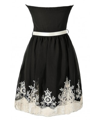 Black and Ivory Embroidered Strapless Dress, Black ...