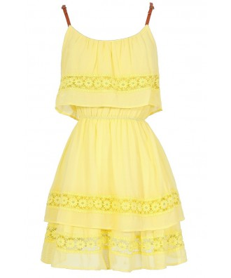 Cute Summer Dress, Bright Yellow Tiered Crochet Lace Dress, Bohemian Summer Dress, Bright Yellow Layered Dress