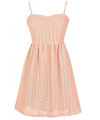 Cute Summer Dress, Cute Juniors Dress, Peach Textured Dress, Cute Peach Bridesmaid Dress