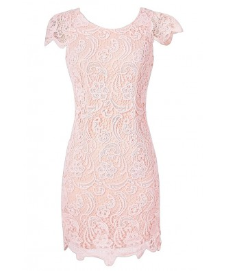 Pale Pink Crochet Lace Capsleeve Pencil Dress, Cute Date Dress, Pink Crochet Lace Dress, Cute Juniors Dress, Pale Pink Lace Summer Dress