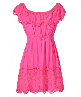 Cute Hot Pink Eyelet Crochet Lace Tunic, Cute Hot Pink Bohemian Tunic, Hot Pink Ruffle Crochet Lace Tunic, Cute Summer Top