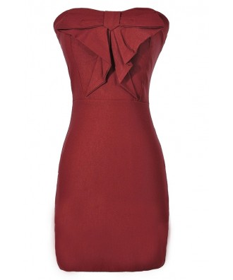 Burgundy Wine Fitted Cocktail Bow Front Pencil Dress, Burgundy Red Wine Strapless Bow Front Party Dress
