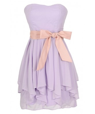 Lavender Purple and Pink Chiffon Ruffle Party Dress, Lavender Purple Chiffon Bridesmaid Dress, Lavender Purple Ruffle Dress