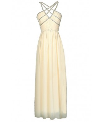 Beige Embellished Maxi Dress, Cute Ivory Beaded Prom Maxi Dress, Formal Beige Embellished Dress