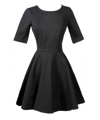 Cute Black Flare Dress, Cute Black A Line Dress, Cute Little Black Dress, Black Juniors Dress