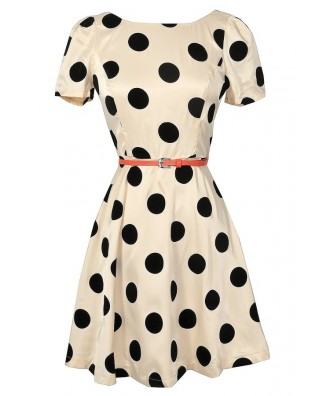 Cute Black and Beige Polka Dot Dress, Retro Polka Dot Dress, Black and Beige 1960s Polka Dot Dress, Black and Beige 1950s Polka Dot Dress