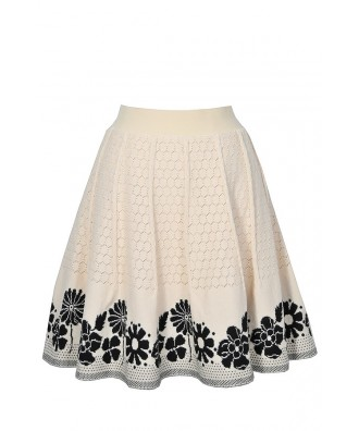 Black and Beige Knit Skirt, Cute Sweater Skirt, Black and Beige Floral Skirt, Black and Beige A-Line Skirt, Cute Knit Skirt