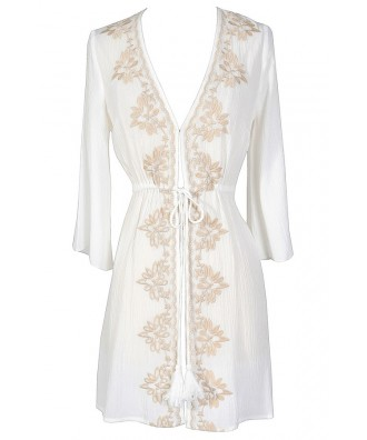 Cute Ivory Beach Coverup, Ivory and Beige Embroidered Beach Coverup, Beach Embroidered Coverup