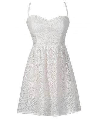 Cute Ivory Lace Dress, Off White Lace Dress, Ivory Lace Rehearsal Dinner Dress, Ivory Lace Bridal Shower Dress